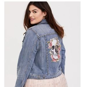Torrid skull floral jacket nwt